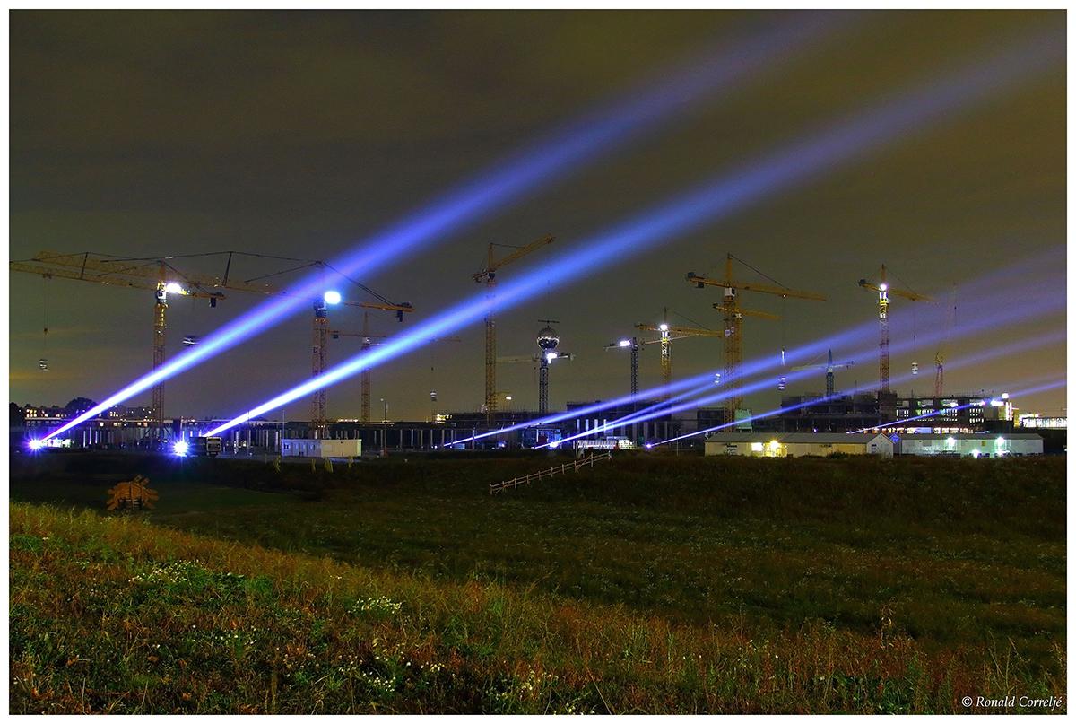 laserstralen vanuit een bouwput