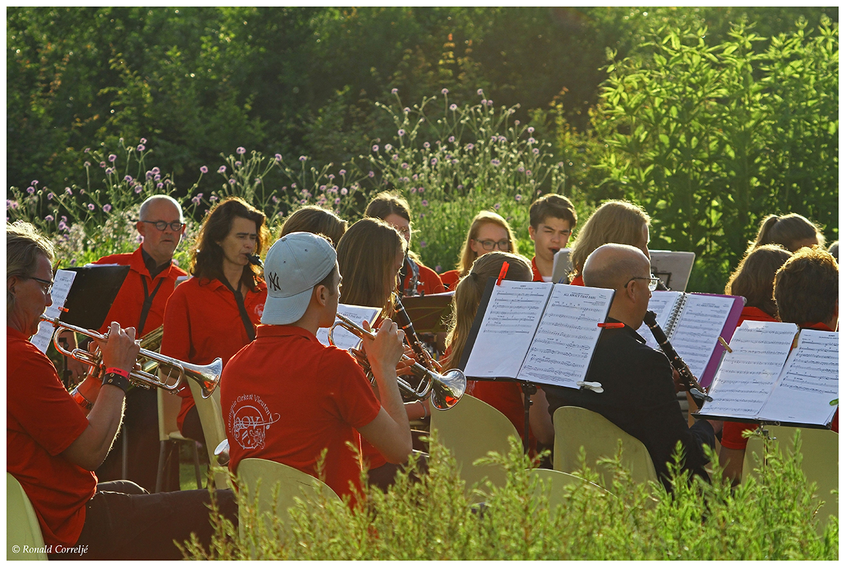 orkest met bladmuziek in tuin