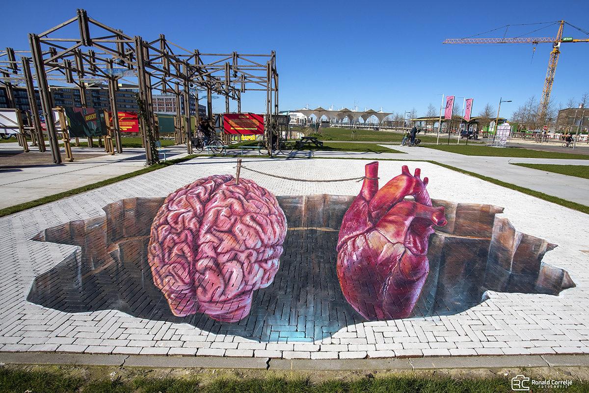 Vloertekening van een hart en hersenen